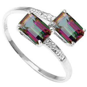 Ring 1 Ct Mystic Gemstone/Diamond/10Kt White Gold